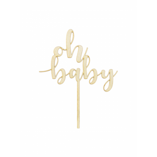 PartyDeco Topper oh baby Holz
