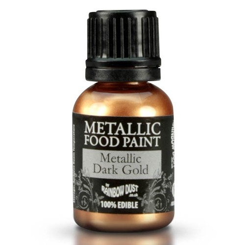 Rainbow Dust Metallic Food Paint Dark Gold 25ml