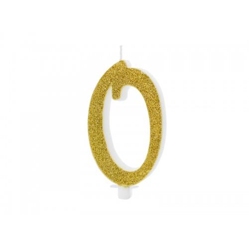 Kuchenkerze - Zahl 0 - Gold 10cm