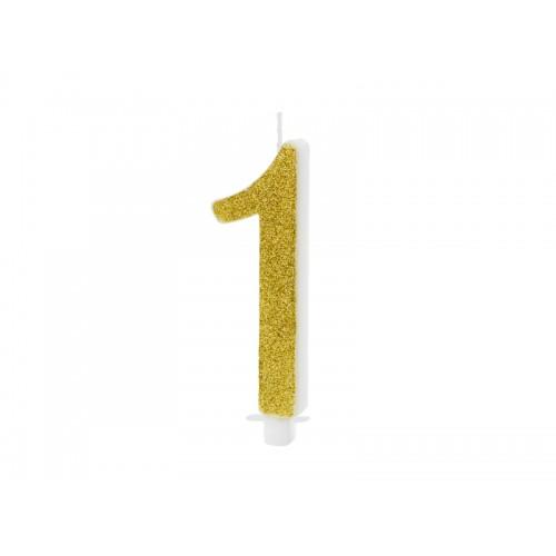 Kuchenkerze - Zahl 1 - Gold 10cm