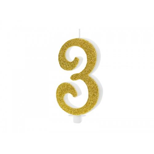 Kuchenkerze - Zahl 3 - Gold 10cm
