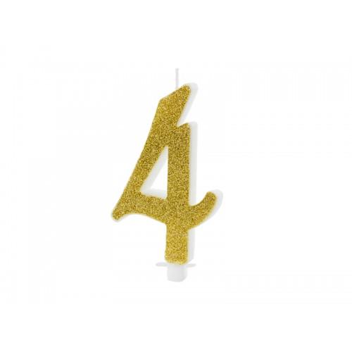 Kuchenkerze - Zahl 4 - Gold 10cm