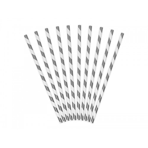 Papierstrohhalme Streifen - Silber