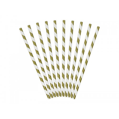 Papierstrohhalme Streifen - Gold