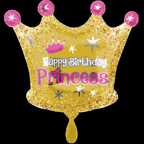 Ballon Happy Birthday Krone inkl. Helium